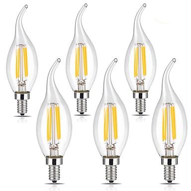 6szt 4W 400lm E14 Żarówka dekoracyjna LED CA35 4 Koraliki LED COB Ciepła biel Zimna biel 220-240V