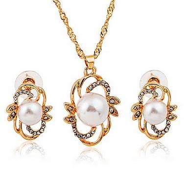 Takı Seti Avrupa lüks mücevher İnci alaşım Altın 1 Kolye 1 Çift Küpe Için Parti 1set Düğün Hediyeleri