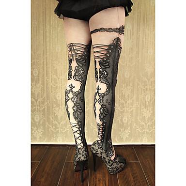 Çoraplar Gotik Lolita Klasik/Geleneksel Lolita Punk Lolita Küpe See Through Eski Tiplerden Esinlenilmiş Sexy Zarif Wiktoriańskie Rococo