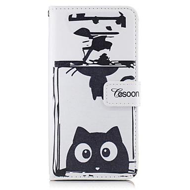 Varten Korttikotelo Lomapkko Tuella Flip Etui Kokonaan peittävä Etui Kissa Kova Tekonahka varten AppleiPhone 7 Plus iPhone 7 iPhone 6s
