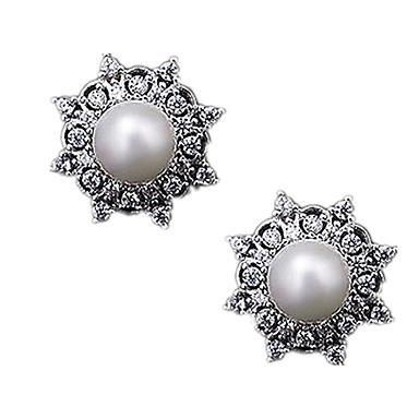 Γυναικεία Κουμπωτά Σκουλαρίκια Μαργαριτάρι Στρας Κράμα Κοσμήματα Για Πάρτι Causal