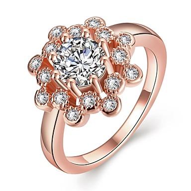 نساء خاتم مكعب زركونيا أوروبي روز جولد زركون مكعبات زركونيا نحاس مجوهرات يوميا فضفاض