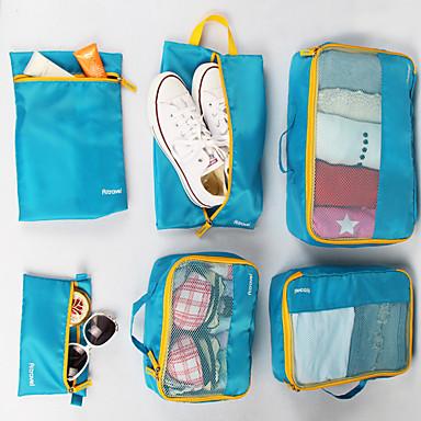 6 sæt Rejsetaske / Rejsearrangør / Rejsebagageorganisator Stor kapacitet / Vandtæt / Foldbar Tøj Net Stof Rejse