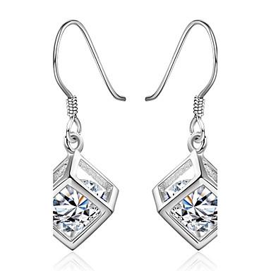 Kadın Damla Küpeler Kübik Zirconia minimalist tarzı Zirkon Kübik Zirconia Bakır Gümüş Kaplama Geometric Shape Mücevher Parti Günlük