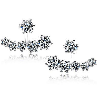 Vidali Küpeler Kübik Zirconia Kübik Zirconia Gümüş Kaplama alaşım Gümüş Mücevher Için Düğün Parti Günlük 1 çift