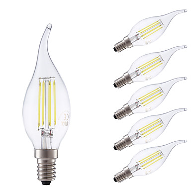 GMY® 6pcs 3.5W 400/350 lm E14 LED Filament Bulbs B 4 leds COB Dimmable Warm White Cold White AC 220-240 V