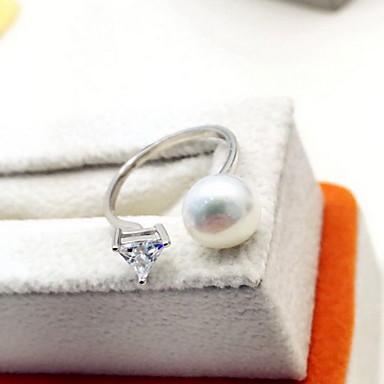 Yüzük Moda Ayarlanabilir Açık lüks mücevher İnci Simüle Elmas Beyaz Mücevher Için Günlük 1pc