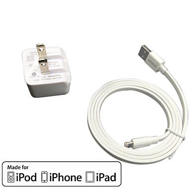 ul χρέωση πιστοποιημένο ταξιδιωτικά τοίχου 1α / 2.1α διπλής εξόδου + ΝΧΙ Apple Certified καλωδίου κεραυνού Falt για το iphone ipad ipod 6