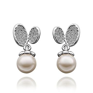 Cercei Picătură Zirconiu Cubic Imitație de Perle Zirconiu Placat Auriu Argintiu Bijuterii Pentru Zilnic Casual 1 pereche