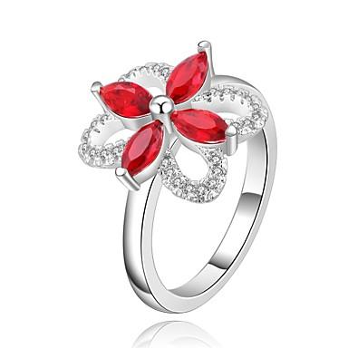 Pierścionki Cyrkonia Codzienny Casual Biżuteria Cyrkon Miedź Posrebrzany Damskie Pierscionek 1szt,8 Czerwony