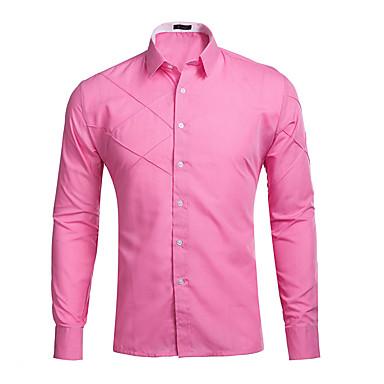 abordables Ropa de Moda Hombres-Hombre Algodón Camisa Un Color Azul Marino L / Manga Larga / Primavera / Otoño