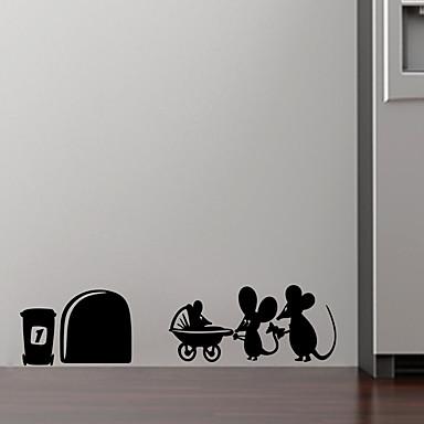 1kpl 19cm * 4cm perheen vauvan hiirenreiän seinätarrat lapsille huoneille tarrat vinyyli seinän taidekoriste kotiin vintage seinämaalaus