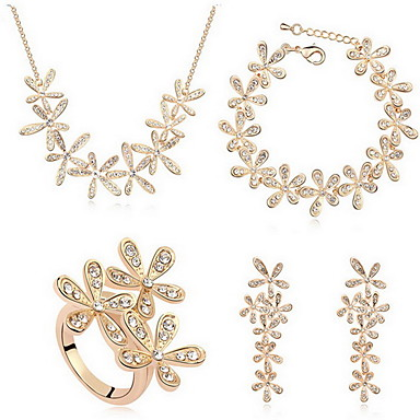 Κρυστάλλινο Κράμα Χρυσό Ασημί 1 Κολιέ 1 Ζευγάρι σκουλαρίκια 1 Βραχιόλι Δακτυλίδια Για Πάρτι 1set Δώρα Γάμου