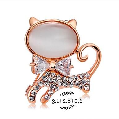 Dame Broșe Cristal Ștras Modă Cute Stil Agat Ștras Aliaj Pisici Animal Bijuterii Pentru Petrecere Zilnic Casual