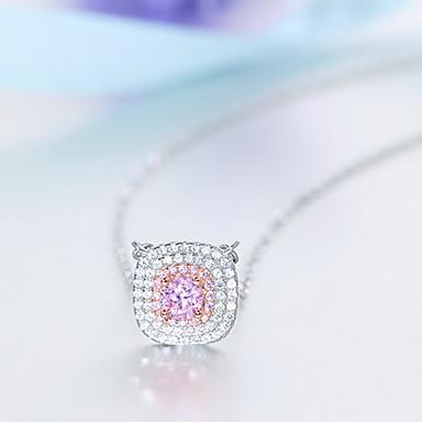 billige Mode Halskæde-Dame Halskædevedhæng Sølv Zirkonium Kvadratisk Zirconium Butterfly Form Rhinsten Natur Lys pink Smykker Daglig Afslappet 1 Stk.