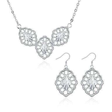 Biżuteria Klasyczny Europejski Codzienny Casual Miedź Posrebrzany Leaf Shape 1 Naszyjnik Náušnice