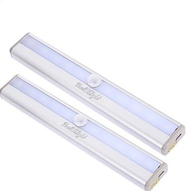 youoklight 2adet hareket sıcak beyaz / soğuk beyaz ışık gece lambası 10 liderliğindeki algılama - gümüş