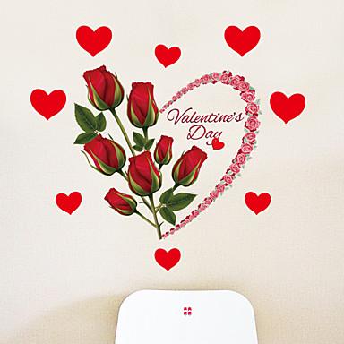 Romantiikka Kukkakuviot Holiday Wall Tarrat Lentokone-seinätarrat Koriste-seinätarrat, Paperi Kodinsisustus Seinätarra Seinä Lasi / WC