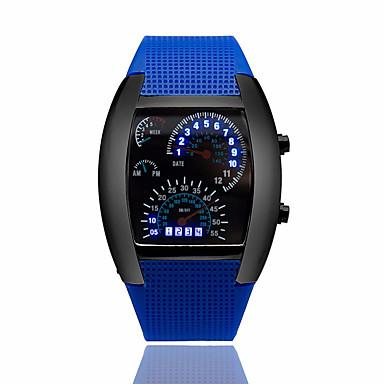זול שעוני גברים-בגדי ריקוד גברים שעון יד שעון דיגיטלי דיגיטלי גומי שחור לוח שנה יצירתי דיגיטלי כחול כהה חום כחול בהיר שנתיים חיי סוללה / Panasonic CR2032