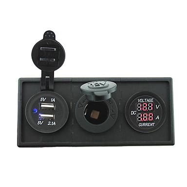 12V / 24V السلطة charger3.1a منفذ USB وقياس ampmeter الحالي مع لوحة حامل الإسكان للحصول على رف شاحنة قارب سيارة (مع الفولتميتر الحالي)