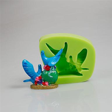 كعكة تزيين أداة جميلة 3d زوجين الطيور الفن والحرفية سيليكون قوالب رامدون اللون