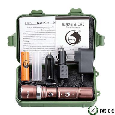U'King Latarki LED LED 2000 lm 5 Tryb Cree XM-L T6 z baterią i ładowarkami Zoomable Regulacja promienia Przysłonięcia
