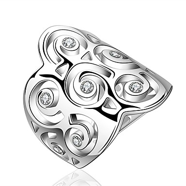 Yüzük Kübik Zirconia Zirkon Bakır Gümüş Kaplama Gümüş Mücevher Için Günlük 1pc