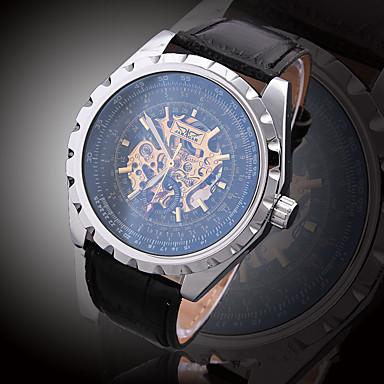 للرجال ساعات فاشن ساعة المعصم ووتش الميكانيكية داخل الساعة أتوماتيك جلد طبيعي فرقة سحر عادية فاخرة متعدد الألوان