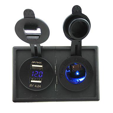 12V / 24V الأزرق أدى السجائر مقبس الكهرباء و4.2A USB مزدوج محول الفولتميتر مع لوحة حامل السكن للقارب سيارة شاحنة رف