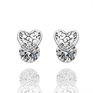 Κουμπωτά Σκουλαρίκια Κοσμήματα Γυναικεία Καθημερινά Causal Κράμα Επάργυρο Γυαλί 1 ζευγάρι Ασημί