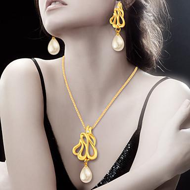 Kadın Takı Seti Mücevher Günlük İnci 1 Kolye 1 Çift Küpe