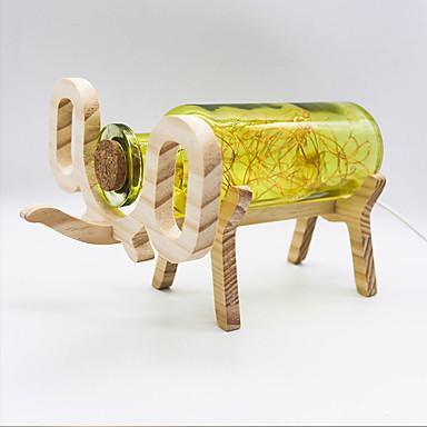 youoklight yaratıcı el yapımı cam şişe ahşap fil ışığı - mavi / sarı / kırmızı