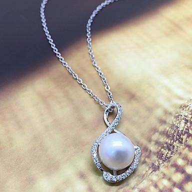 billige Mode Halskæde-Dame Vedhæng Perle Imiteret Perle Rhinsten Enkelt design Yndig Mode Sølv Smykker Daglig Afslappet 1 Stk.