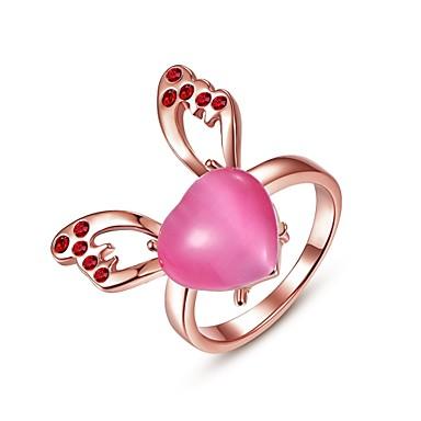 Damskie Pierscionek Kryształ Serce Różowe złoto Kamień szlachetny Pokryte różowym złotem Stop Biżuteria Codzienny Casual