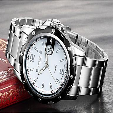 SKONE Bărbați Ceas La Modă Ceas de Mână Quartz Calendar Oțel inoxidabil Bandă Charm Lux Argint