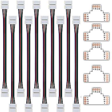 ZDM محفظة 5pcs سريع الخائن موصل 10MM ر الشكل 4 موصل ل 5050 RGB مع 10PCS 5050 موصل ضوء الشريط RGB