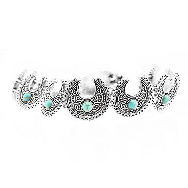 billige Mode Halskæde-Dame Kort halskæde Turkis Smykker Turkis Legering Mode Euro-Amerikansk Folk Style Personaliseret Europæisk Sølv Smykker ForDaglig