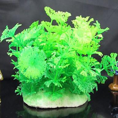 ديكور حوض السمك نبات مائي غير سام و بدون طعم البلاستيك أخضر وردي أصفر