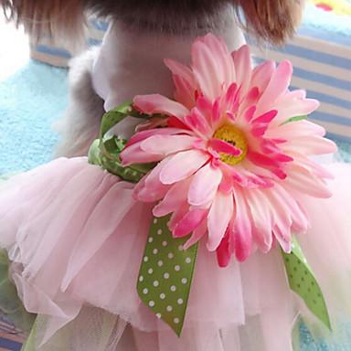 قط كلب الفساتين ملابس الكلاب زهور قوس قزح قطن كوستيوم للحيوانات الأليفة للمرأة جميل موضة