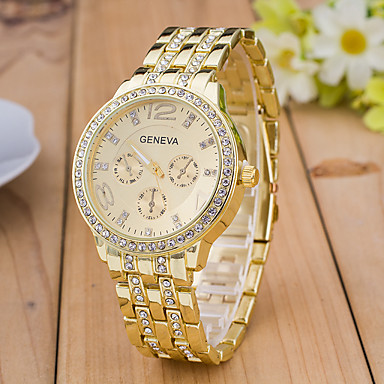 Femme Quartz Montre Diamant Simulation Montre Bracelet Montre de Sport Strass Imitation de diamant Plaqué Or Rose Alliage Bande Charme