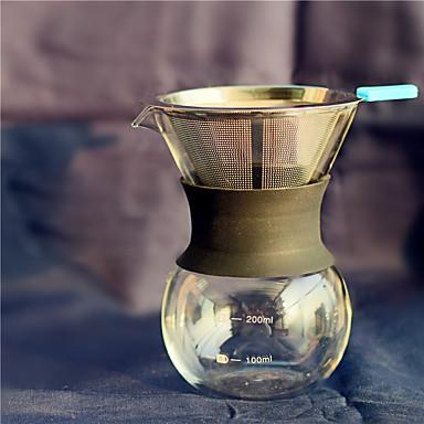 400 مل ستانلس ستيل زجاج تعيين صانع القهوة ، 3 أكواب القهوة بالتنقيط صانع الدليل يعاد استعماله