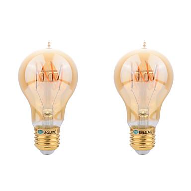 2pcs 4W 400-450 lm E26/E27 Bec Filet LED A60(A19) led-uri COB Decorativ Alb Cald AC 220-240 V