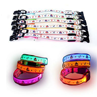 Koira Kaulapannat LED valot Säädettävä / Sisäänvedettävä Heijastava Strobe Turvallisuus Piirretty Tähdet Nylon Verkko Keltainen Punainen