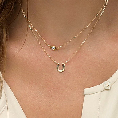 Kadın Gerdanlıklar Mücevher Mücevher Simüle Elmas alaşım Çift katman ilk Takı Avrupa Moda Kişiselleştirilmiş Euramerican Mücevher