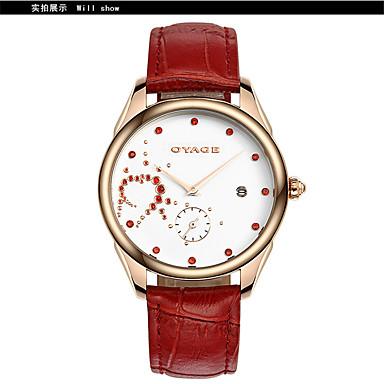 Γυναικεία Μοδάτο Ρολόι Χαλαζίας Ελβετός Υψηλής Ποιότητας Γνήσιο δέρμα Μπάντα Καθημερινά Λευκή Κόκκινο Ροζ Μωβ