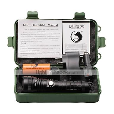 U'King Latarki LED LED 2000 lm 5 Tryb Cree XM-L T6 z baterią i ładowarkami Obóz/wycieczka/alpinizm jaskiniowy Do użytku codziennego