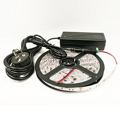ZDM® 5m Büyüyen Şerit Işığı 300 LED'ler 1 x 12 V 3A Adaptörü 1 DC Kablo Mavi Kırmızı Kesilebilir Su Geçirmez Kendinden Yapışkanlı