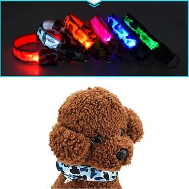 قط كلب ياقة أضواء LED مكافحة النباح تمويه نايلون أصفر أحمر أخضر أزرق زهري