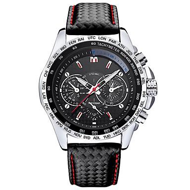 Sportowy Modny Zegarek na nadgarstek Kwarcowy Skóra Pasmo Nowoczesne Czarny White Black