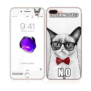 apple iphone 7 artı yumuşak kenar tam ekran kapsama ön ve arka ekran koruyucu yakışıklı kedi desenli 5.5 temperli cam için
